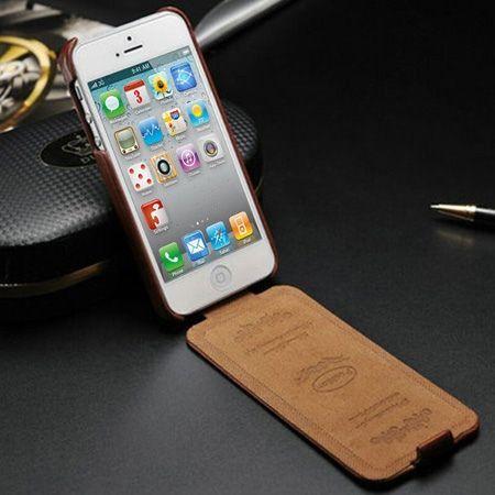 iPhone 4 4s etui skórzane z klapką czarny
