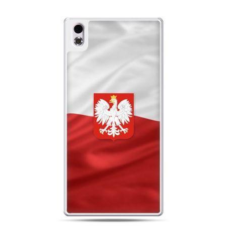Etui na telefon HTC Desire 816 patriotyczne - flaga Polski z godłem