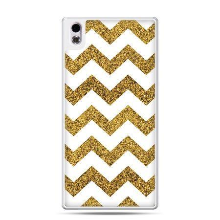 HTC Desire 816 etui złoty zig zag