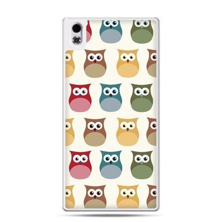 HTC Desire 816 etui kolorowe sowy