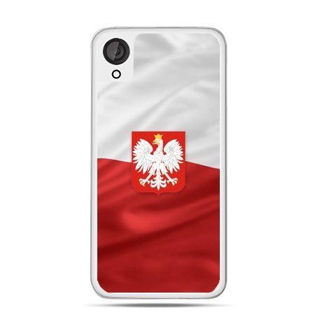 Etui na telefon Desire 820 patriotyczne - flaga Polski z godłem