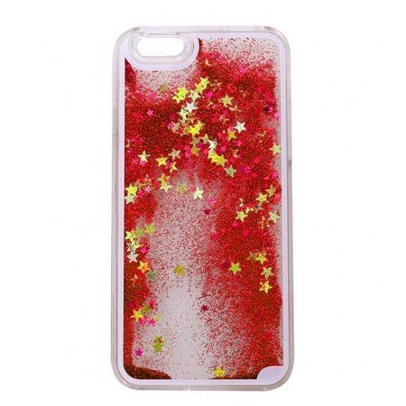 iPhone 6 Plus etui z ruchomym płynem w środku Stardust czerwony brokat.