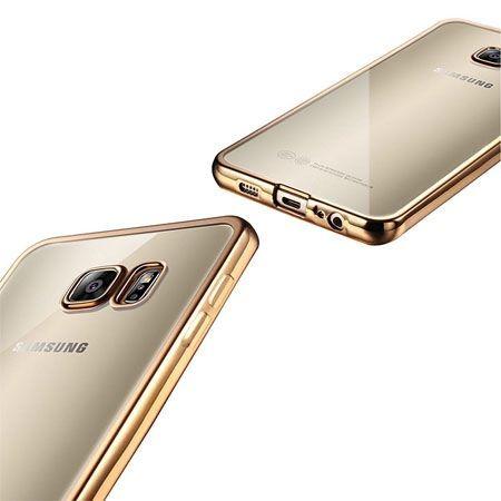 Samsung Galaxy S6 przezroczyste etui platynowane SLIM złote.