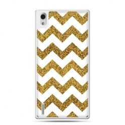 Huawei P7 etui złoty zig zag