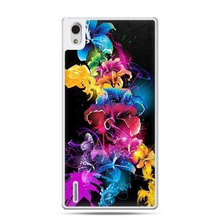 Huawei P7 etui kolorowe kwiaty