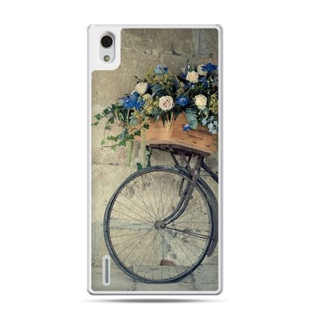 Huawei P7 etui rower z kwiatami