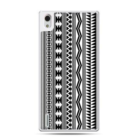 Huawei P7 etui czarno biały wzorek