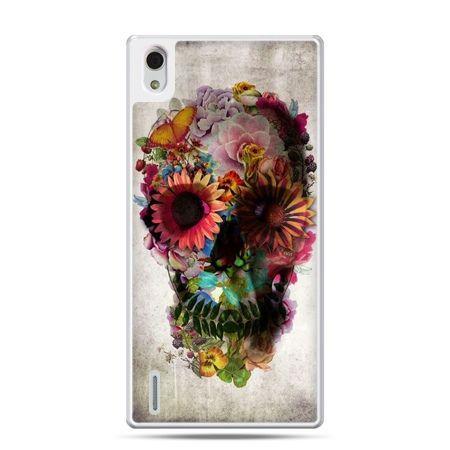 Huawei P7 etui czaszka z kwiatami