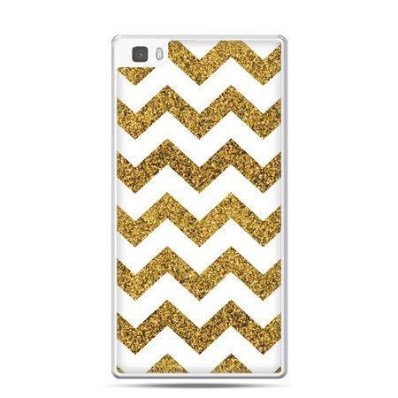 Huawei P8 etui złoty zig zag