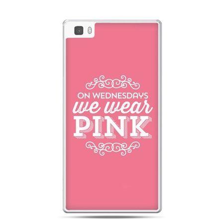 Huawei P8 etui różowe z napisem