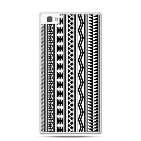 Huawei P8 etui czarno biały wzorek