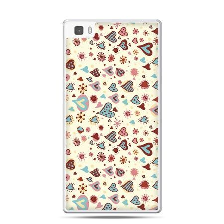 Huawei P8 etui kolorowe serca