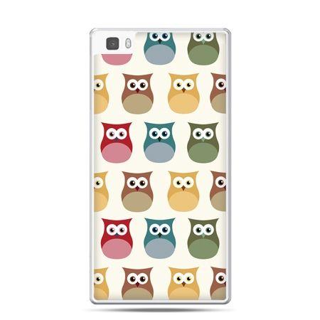 Huawei P8 etui kolorowe sowy