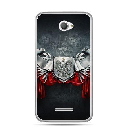Etui na telefon Xperia E4 patriotyczne - stalowe godło