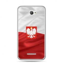 Etui na telefon Xperia E4 patriotyczne - flaga Polski z godłem