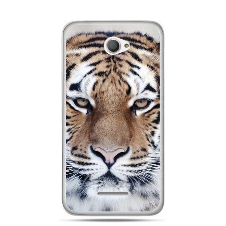 Xperia E4 etui śnieżny tygrys