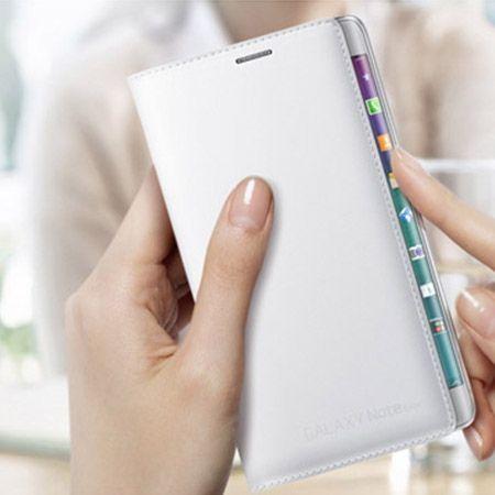 Galaxy Note Edge  etui Flip Wallet skóra białe z klapką.