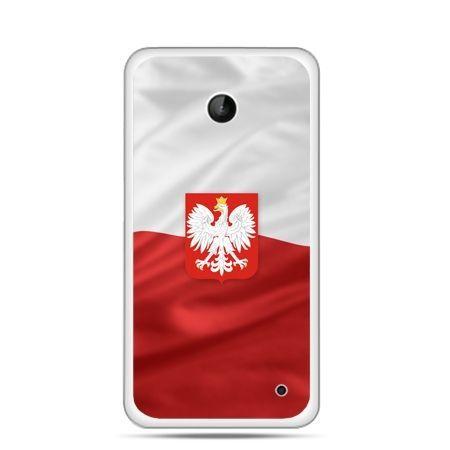 Etui na telefon Lumia 630 patriotyczne - flaga Polski z godłem