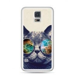 Etui na Samsung Galaxy S5 mini Kot w tęczowych okularach