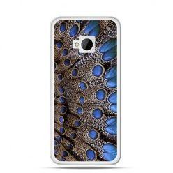 Etui na HTC One M7 Niebieskie pióra