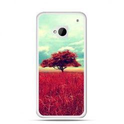 Etui na HTC One M7 Czerwone drzewo