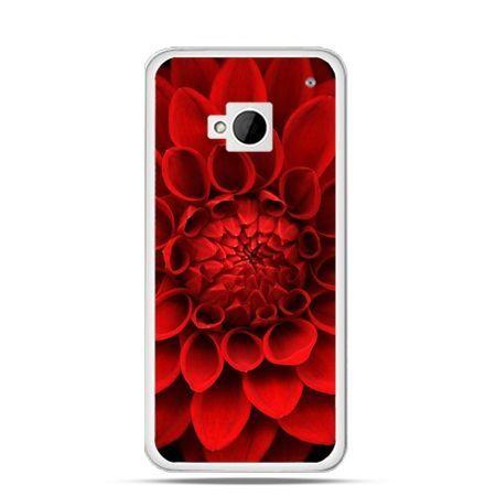 Etui na HTC One M7 Czerwona dalia