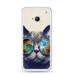 Etui na HTC One M7 Kot w tęczowych okularach