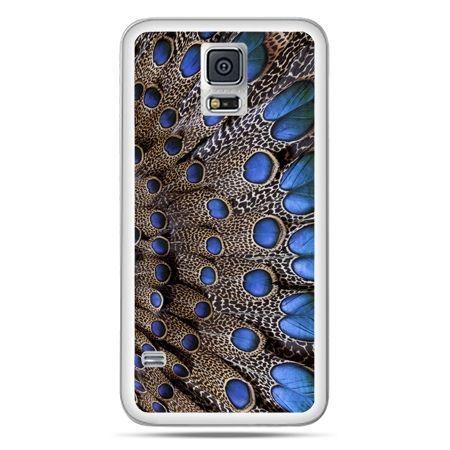 Galaxy S5 Neo etui niebieskie pióra