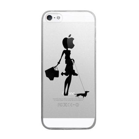 iPhone 5 ultra slim silikonowe przezroczyste etui kobieta muzyk.