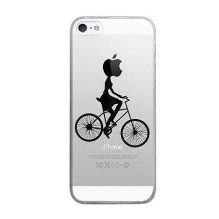 iPhone 5 ultra slim silikonowe przezroczyste etui kobieta na rowerze.