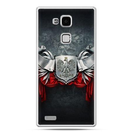 Etui na telefon Huawei Mate 7 patriotyczne - stalowe godło