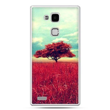 Etui na Huawei Mate 7 czerwone drzewo
