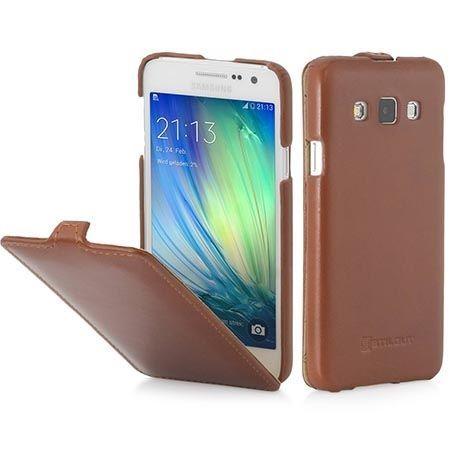Pokrowiec na Galaxy A3 Stilgut Ultraslim z klapką skóra brązowy.