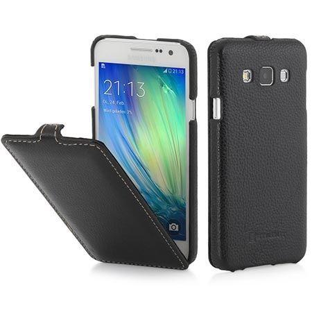 Pokrowiec na Galaxy A3 Stilgut Ultraslim z klapką skóra czarny.