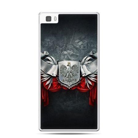 Etui na telefon Huawei P8 Lite patriotyczne - stalowe godło