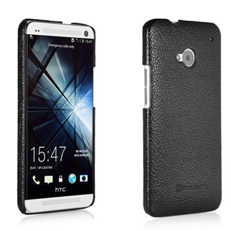 Plecki na HTC One M7 Stilgut skóra cover czarny.