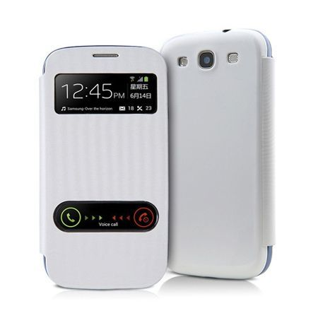 Etui na Samsung Galaxy Ace 3 - flip dwa okienka z klapką - Biały