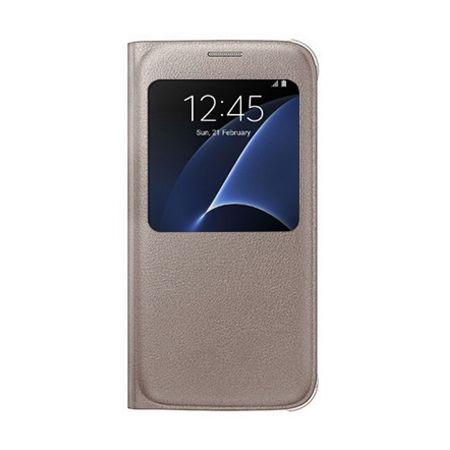 Etui na Samsung Galaxy S7 - flip S-View z klapką - Złoty