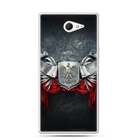 Etui na telefon Xperia M2 patriotyczne - stalowe godło