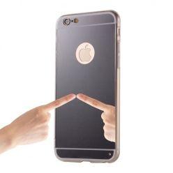 iPhone 6 / 6s lustro - etui lustrzane - mirror silikonowe TPU - czarne.