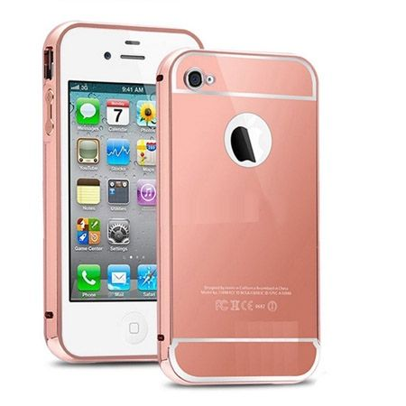 iPhone 5 / 5s etui Mirror aluminium bumper case lustro (Rose Gold) - różowy.