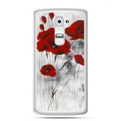 Etui na telefon LG G2 czerwone maki
