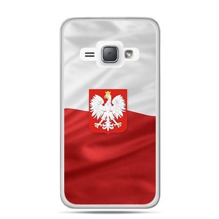 Etui na telefon Galaxy J1 (2016) patriotyczne - flaga Polski z godłem