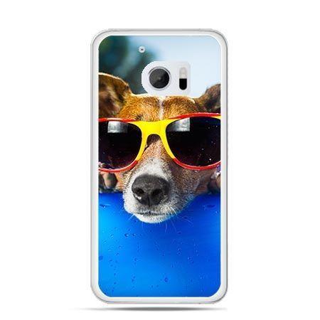 Etui na telefon HTC 10 pies w kolorowych okularach