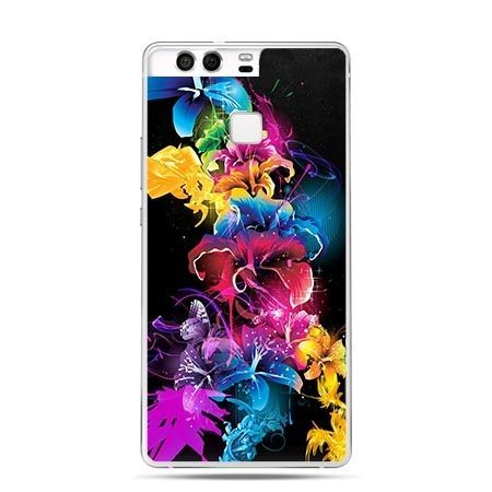 Etui na telefon Huawei P9 kolorowe kwiaty