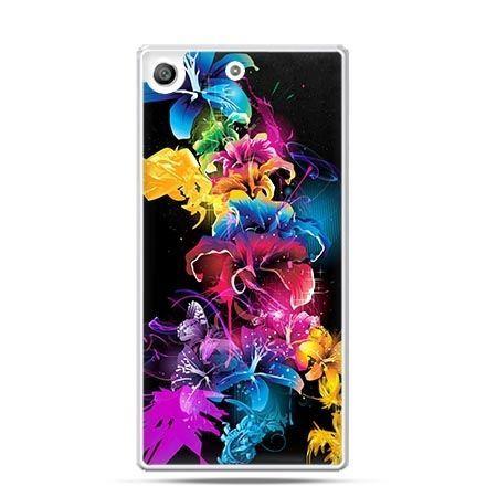 Etui na telefon Xperia M5 kolorowe kwiaty