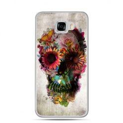 Etui na telefon Samsung Galaxy C7 - czaszka z kwiatami