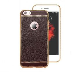 Etui na iPhone Plus silikonowe platynowane TPU Slim skóra - brązowe.