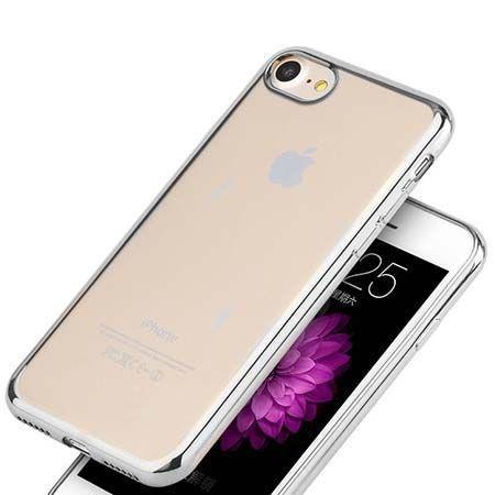 Etui na iPhone 7 silikonowe platynowane SLIM kolor - srebrny.