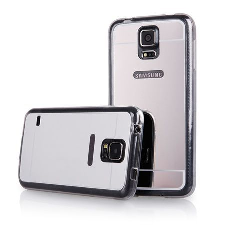 Galaxy S5 mirror - lustro silikonowe etui lustrzane TPU - srebrne.